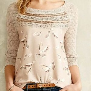 """Anthropology """"Aves"""" Lace Trimmed Feather Print Top"""